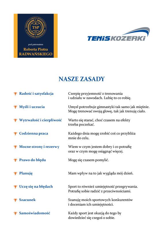 Zasady Akademii Tenisowej Tenis Kozerki